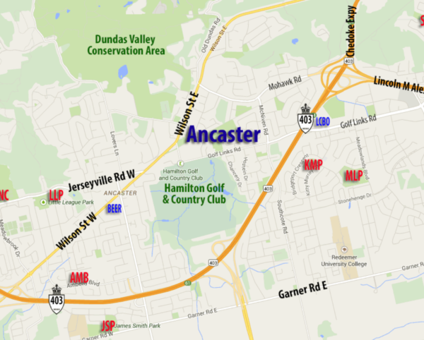 map showing ancaster location in context