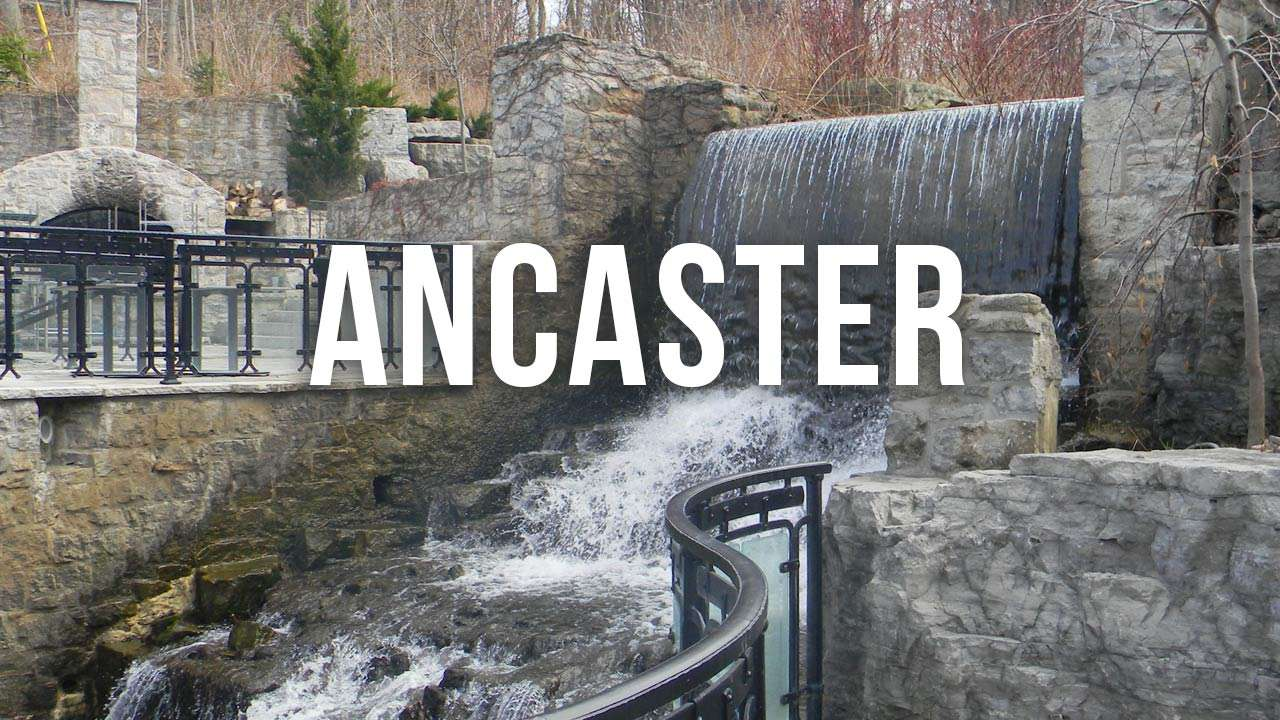 "waterfall with ""ancaster"" text"