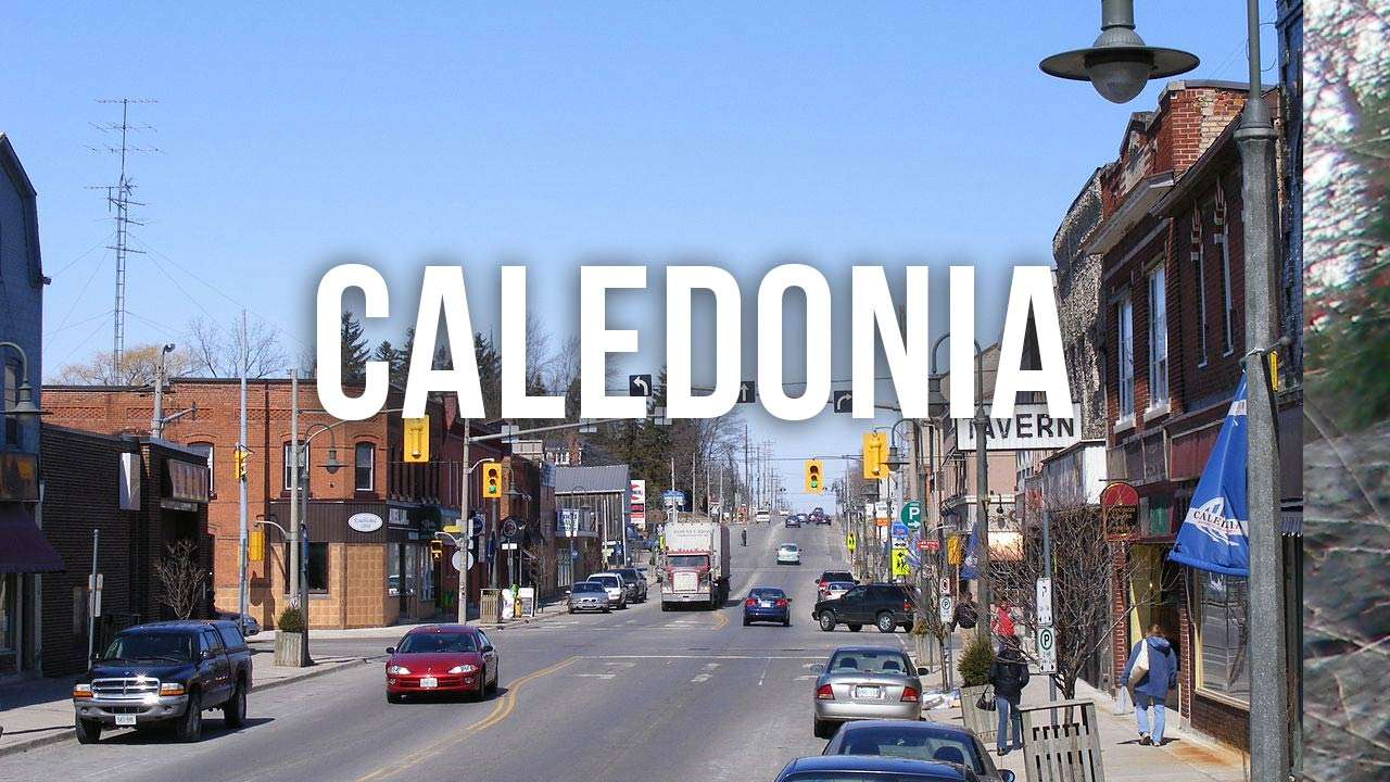 "small town main strip with ""caledonia"" text"