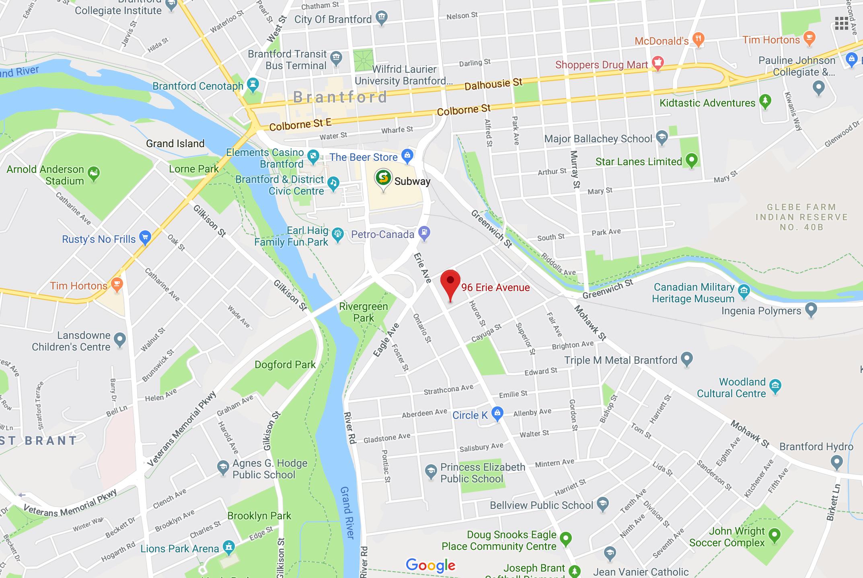 google map screenshot of 96 erie ave