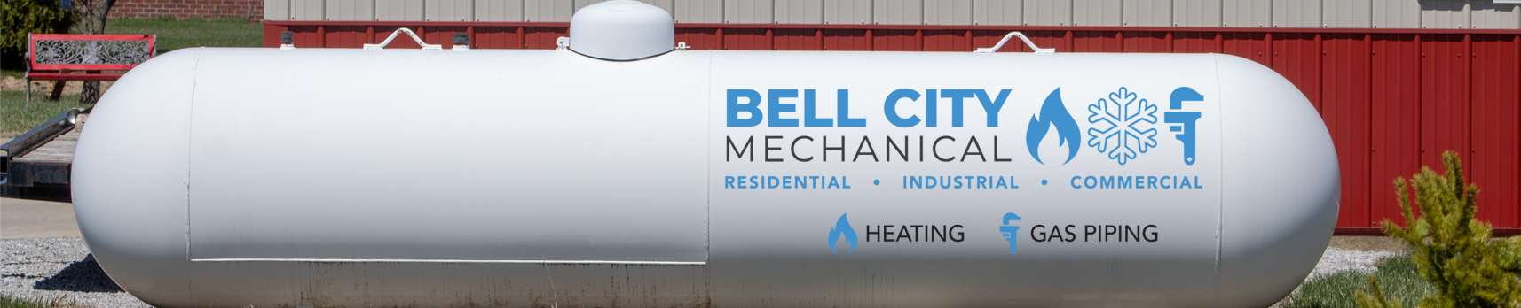 large propane tank with bell city logo